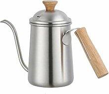 ZSQHD 650ml Holzgriff-Handkanne Kaffeekanne, 304