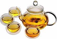 zssx Teekanne mit Stövchen und 6 Teetassen