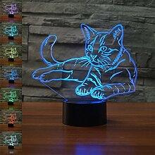 ZTOP Abstrakte 3D optische Täuschung Katze Tier