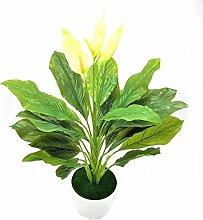 ZTTLOL 1 stück Große 60 CM Immergrüne Künstliche Pflanze blumen Bush Topfpflanzen Kunststoff Grünen Baum Hausgarten Büro Dekoration, mit vase