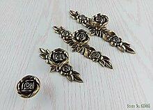 ZTZT Europäische Bronze Rose Blume Möbelgriffe