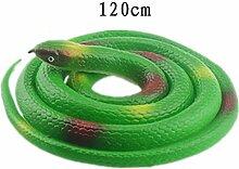 Zubita Plastik Schlangen Gummi Gummischlange Wie Echt Tricky Spiele Spielzeug, 120CM Grün