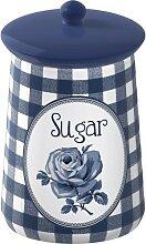 Zuckerdose Vorratsdose SUGAR blau weiß H 16cm D