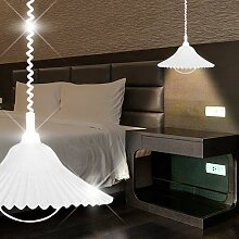 Zug Hänge Leuchte Weiß/ Glas/ Pendel Lampe