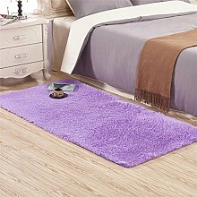 Zuhause Seidenhaar Wohnzimmer Schlafzimmer Kaffetisch Teppich Schlafzimmer Teppich Zimmer Nachttisch Teppich , purple , 50*160 cm