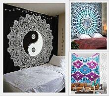Zukunft handgefertigt machen 3Stück Große Queen Size Wandteppiche Mandala Tapisserie Großhandel von indischen Gedruckt Bett Blatt Wandteppiche Hippie mit schönem Aufdruck Home Decor Tagesdecke, baumwolle, Pack 4, Queen size