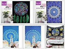 Zukunft handgefertigt machen 5Twin Wandteppiche Pack Mahatma Tapisserie Großhandel von indischen Gedruckt Bett Blatt Wandteppiche Home Dekoration Meditation Buddha reine Baumwolle gedruckt Tagesdecke, baumwolle, Pack 2, 55 W X 81 L Inches Approx