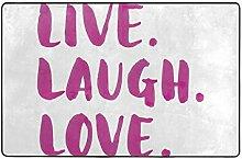 ZUL Badematte Badteppich,Live Laugh Love Decor,