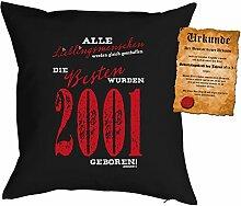 zum 16 Geburtstag Geschenkidee Kissen mit Füllung Lieblingsmensch 2001 Polster zum 16. Geburtstag für 16-jährige Dekokissen mit Urkunde