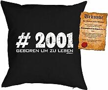 zum 17 Geburtstag Geschenkidee Kissen mit Füllung #2001 Geboren um zu leben Polster zum 17. Geburtstag für 17-jährige Dekokissen mit Urkunde