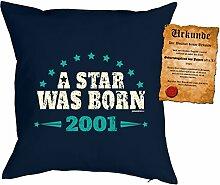 zum 17. Geburtstag Geschenkidee Kissen mit Füllung A Star was born 2001 Polster zum 17 Geburtstag für 17-jährige Dekokissen mit Urkunde