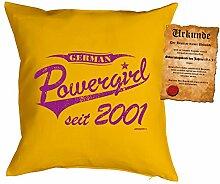 zum 17 Geburtstag Geschenkidee Kissen mit Füllung German Powergirl seit 2001 Polster zum 17. Geburtstag für 17-jährige Dekokissen mit Urkunde