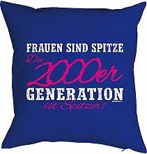 zum 18. Geburtstag Geschenk - Kissen mit gefülltem Innenkissen - 18 Geb. 2000 Geburtsjahr Frauen sind spitze 2000er Generation … Deko Nutzkissen 40x40 cm : )