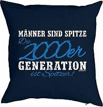 zum 18. Geburtstag Geschenk - Kissen mit gefülltem Innenkissen - 18 Geb. 2000 Geburtsjahr Männer sind spitze 2000er Generation … Deko Nutzkissen 40x40 cm : )