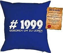 zum 18 Geburtstag Geschenkidee Kissen mit Füllung #1999 Geboren um zu leben Polster zum 18 Geburtstag für 18-jährige Dekokissen mit Urkunde