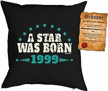zum 18. Geburtstag Geschenkidee Kissen mit Füllung A Star was born 1999 Polster zum 18 Geburtstag für 18-jährige Dekokissen mit Urkunde