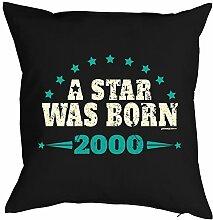 zum 18. Geburtstag Geschenkidee Kissen mit Füllung A Star was born 2000 Polster zum 18 Geburtstag für 18-jährige Dekokissen mit Urkunde