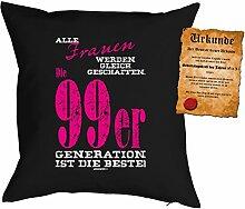 zum 18. Geburtstag Geschenkidee Kissen mit Füllung Frauen 99er Generatrion Polster zum 18 Geburtstag für 18-jährige Dekokissen mit Urkunde
