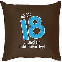 zum 18. Geburtstag Geschenkidee Kissen mit. Füllung Ich bin 18…und ein echt heißer Typ! - Geburtstagsgeschenk 18. Geburtstag
