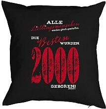 zum 18. Geburtstag Geschenkidee Kissen mit Füllung Lieblingsmensch 2000 Polster zum 18 Geburtstag für 18-jährige Dekokissen mit Urkunde