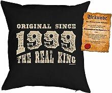 zum 18. Geburtstag Geschenkidee Kissen mit Füllung Original since 1999 the real king Polster zum 18 Geburtstag für 18-jährige Dekokissen mit Urkunde