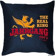 Zum 18. Geburtstag! Kissen mit Füllung - The Real King Jahrgang 1997 - Ein cooles Geschenk zum 18ten! Zur Volljährigkei