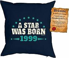 zum 19 Geburtstag Geschenkidee Kissen mit Füllung A Star was born 1999 Polster zum 19 Geburtstag für 19-jährige Dekokissen mit Urkunde
