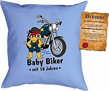 zum 19 Geburtstag Geschenkidee Kissen mit Füllung Baby Biker seit 18 Jahren Polster zum 19 Geburtstag für 19-jährige Dekokissen mit Urkunde