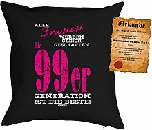 zum 19. Geburtstag Geschenkidee Kissen mit Füllung Frauen 99er Generatrion Polster zum 19 Geburtstag für 19-jährige Dekokissen mit Urkunde