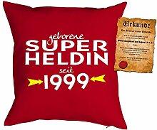 zum 19 Geburtstag Geschenkidee Kissen mit Füllung geborene Super Heldin seit 1999 Polster zum 19 Geburtstag für 19-jährige Dekokissen mit Urkunde