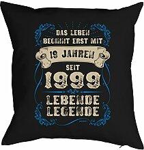 zum 19 Geburtstag Geschenkidee Kissen mit Füllung mit 19 Jahren seit 1999 Lebende Legende Polster zum 19. Geburtstag für 19-jähirge Dekokissen