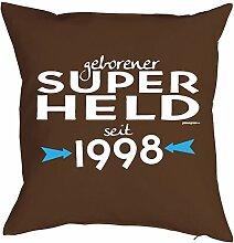zum 20. Geburtstag Geschenk Freund für Ihn Mann Deko Kissenbezug SUPER HELD bedruckt Jahrgang geboren 1998 Motiv Print Kissenhülle 40x40 cm : )