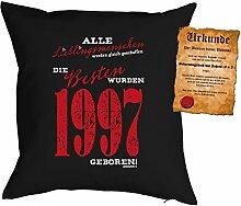 zum 20. Geburtstag Geschenkidee Kissen mit Füllung Lieblingsmensch 1997 Polster zum 20 Geburtstag für 20-jährige Dekokissen mit Urkunde
