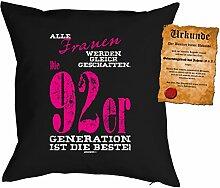 zum 25. Geburtstag Geschenk Bezug Kissenbezug Frauen 92er Generation Polster zum 25. Geburtstag für 25-jährige Dekokissen mit Urkunde