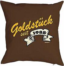 zum 30. Geburtstag Geburtstagsgeschenk für Sie und Ihn Mann Frau Deko Kissen mit Innenkissen GOLDSTÜCK Print Jahrgang geboren 1988 Geschenk 40x40cm : )