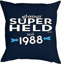 zum 30. Geburtstag Geschenk Freund für Ihn Mann Deko Kissenbezug SUPER HELD bedruckt Jahrgang geboren 1988 Motiv Print Kissenhülle 40x40 cm : )