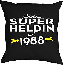 zum 30. Geburtstag Geschenk Freundin für Sie Frau Deko Kissen mit Innenkissen SUPER HELDIN Aufdruck Jahrgang geboren 1988 Geb. 40x40cm : )