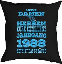 zum 30. Geburtstag Jahrgang geboren 1988 Geschenk Freund für Ihn Mann Deko Kissen mit Innenkissen EURE EXZELLENZ Print Text Geburtstagsgeschenk 40x40cm : )