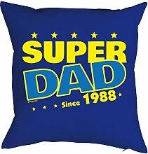 zum 30. Geburtstag Papa Geschenk für Ihn Mann Deko Kissen mit Innenkissen SUPER DAD Aufdruck Jahrgang geboren 1988 Geb. 40x40cm : )