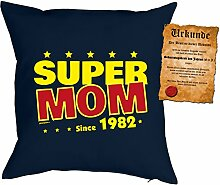 zum 36 Geburtstag Geschenkidee Kissen mit Füllung Super Mom since 1982 Polster zum 36 Geburtstag für 36-jährige Dekokissen mit Urkunde