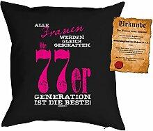 zum 40. Geburtstag Geschenk Bezug Kissenbezug Frauen 77er Generation Polster zum 40. Geburtstag für 40-jährige Dekokissen mit Urkunde