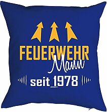 zum 40. Geburtstag Geschenk für Ihn Mann FEUERWEHR MANN Deko Kissen mit Innenkissen bedruckt Jahrgang geboren 1978 Motiv Print 40x40cm : )