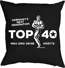 zum 40. Geburtstag Geschenkidee Kissen mit Füllung Germany´s next Generation Top 40 Polster zum 40 Geburtstag für 40-jährige Dekokissen