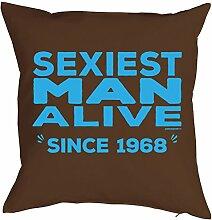 zum 49. Geburtstag Jahrgang geboren 1968 Geschenk Freund Ehemann für Ihn Mann Deko Kissen mit Innenkissen SEXIEST MAN Text Geburtstagsgeschenk 40x40cm : )