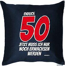 Zum 50. Geburtstag - Endlich 50, jetzt muß ich nur noch erwachsen werden - Kissen mit Füllung, Dekokissen