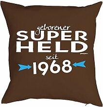 zum 50. Geburtstag Geschenk 1968 Jahrgang geboren für Ihn Mann Deko Kissenbezug SUPER HELD bedruckt Motiv Print Kissenhülle 40x40 cm : )