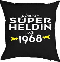 zum 50. Geburtstag Geschenk Freundin für Sie Frau Deko Kissenbezug SUPER HELDIN Aufdruck Jahrgang geboren 1968 Geb. Kissenhülle 40x40 cm : )