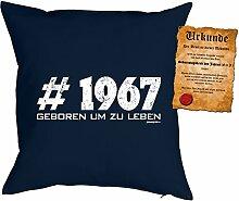 zum 50. Geburtstag Geschenkidee Kissen mit Füllung #1967 Geboren um zu leben Polster zum 50 Geburtstag für 50-jährige Dekokissen mit Urkunde