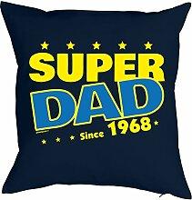 zum 50. Geburtstag Jahrgang geboren 1968 Papa Geschenk für Ihn Mann Deko Kissenbezug SUPER DAD Print Text Geburtstagsgeschenk Kissenhülle 40x40 cm : )