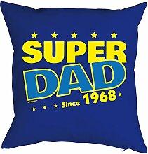 zum 50. Geburtstag Papa Geschenk für Ihn Mann Deko Kissen mit Innenkissen SUPER DAD Aufdruck Jahrgang geboren 1968 Jahre alt 40x40cm : )